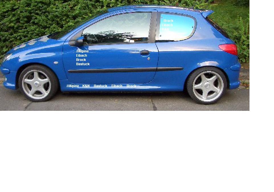 Car Sticker Car Decal ! PEUGEOT 206 1 stück Auto Motorhaube Aufkleber