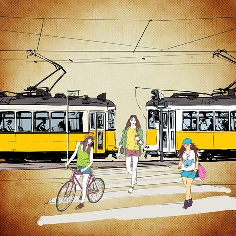 Zebrastreifen,Fußgängerüberweg,Radfahrer,Fußgänger,Rollstuhl,Rollstuhlfahrer,Straßenbahn,Schie...png