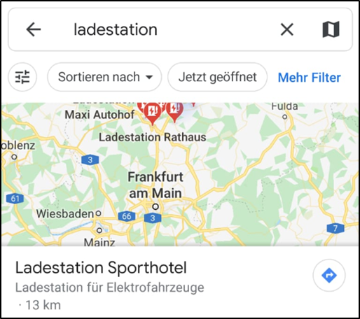ladestationen f r elektroautos in google maps finden und. Black Bedroom Furniture Sets. Home Design Ideas